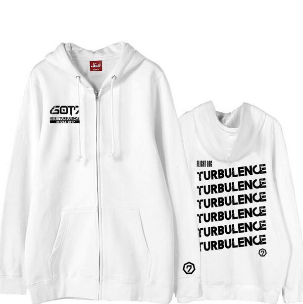 Got7 album flight log turbulence printing zipper jackets for i got7 kpop supportive fleece hoodie jacket