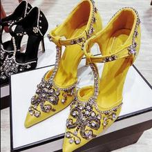 Party-Shoes High-Heel Yellow Beading T-Strap Diamonds Black Woman Luxurious Dress Palace-Style