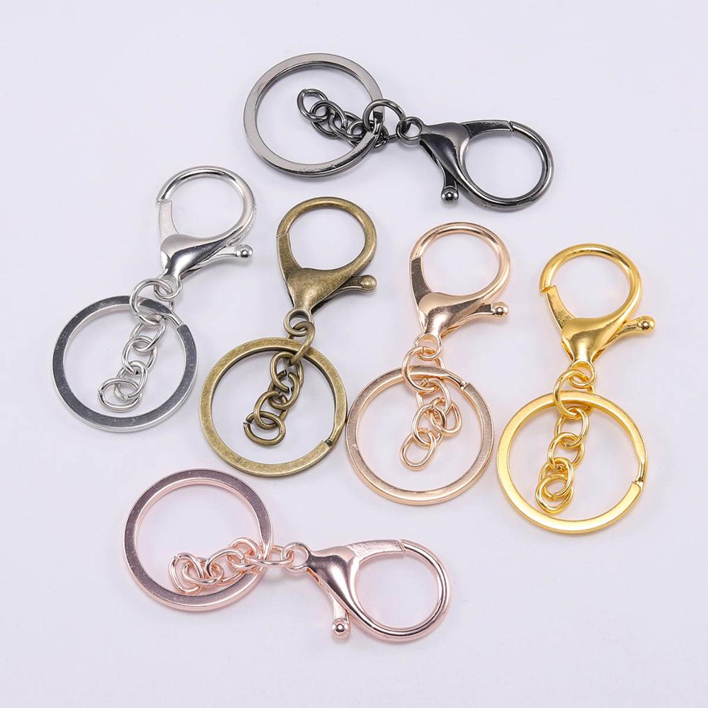 5pcs/lot Key Ring 30mm Keychain Long 70mm Lobster Clasp Key Hook Keyrings For Jewelry Making Finding DIY Key Chains Accessories(China)
