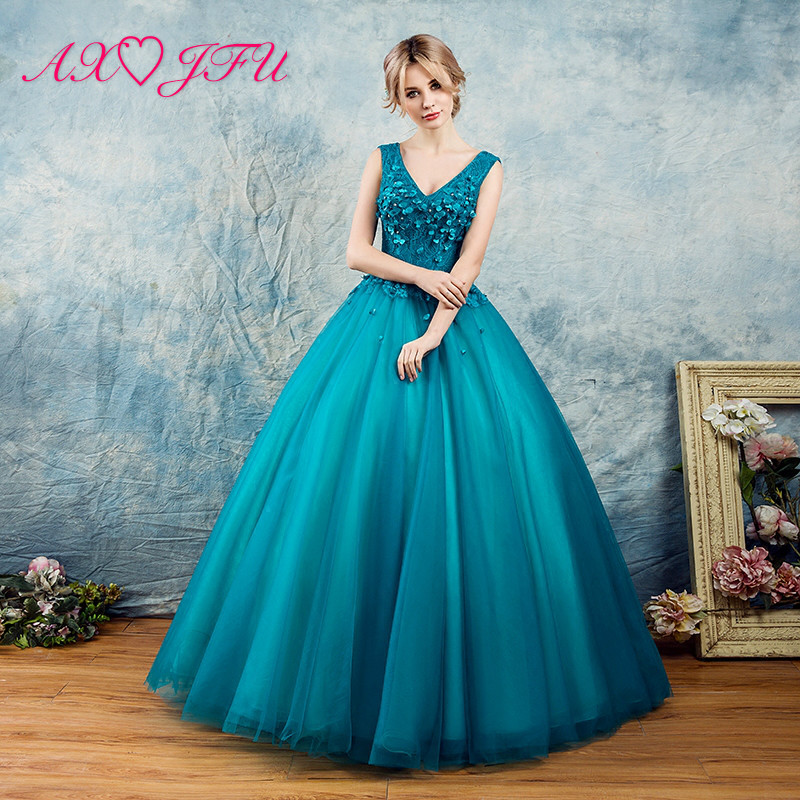 AXJFU lace princess blue flower   evening     dress   beading flower lace   evening     dress   V neck flower blue   evening     dress