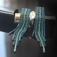 Ecesha Gun Black Plated Fringe Earrings Women's Colorful Rhinestone Tassels Long Hanging Earrings Chain Drop Earrings Bijouterie