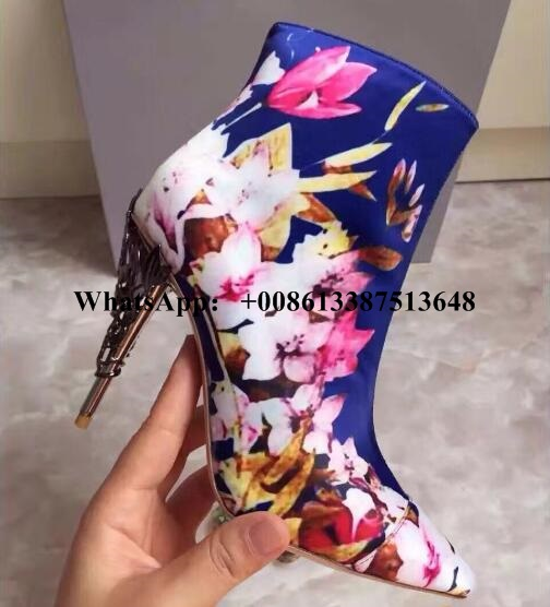 Luxury Designer Pink Satin Print Eden Ankle Boot Leaves Spiralling High Heels Women Boots Fall Spring Pointed Ankle Boot Size 10