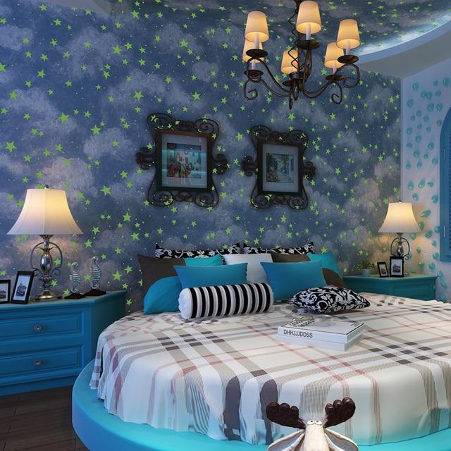 azul cielo nube nios habitacin del beb no tejido rollo de papel de vinilo luminoso