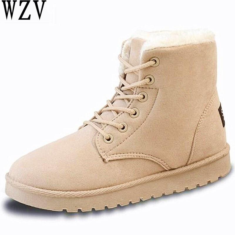 Hot Women Boots Winter Warm Snow Boots Women Botas Mujer Lace Up Fur Ankle Boots Ladies Winter Women Shoes Black F446 women boots 2016 fashion botas femininas warm winter snow boots female lace up fur ankle boots 7 color flats ladies shoes