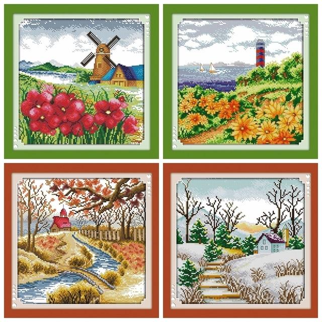 ฤดูใบไม้ผลิฤดูหนาว 4 season cross stitch ชุดนับพิมพ์ 18ct 14ct 11 ผ้า