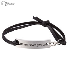 Inspirational Quote Never Give Up Rectangle Engraved Charm Leather Bracelet Graduation Jewelry Gift for Girls Women