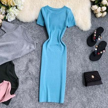 Euro-American simple round-necked short-sleeved Chic Port-flavored elastic knitted dress with tight body and buttocks