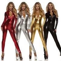 Black Widow costumes Sexy Shiny Cat Suit Women Silver Metallic Unitard Tight Suit Lycra Bodysuit Zipper Long Sleeve Catsuits