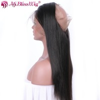 AliBlissWig Yaki Straight 360 Lace Frontal With Baby Hair Natural Color Free Part Brazilian Remy 100
