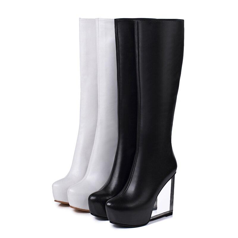 Zip Botas black Altos Punta Li Li De Cuero Zapatos Calzado Tacones Mujer Plataforma Transparente 2018 Wetkiss white Redonda Invierno Li Mao Vaca Fiesta Black Dan qxpRAt8Ww