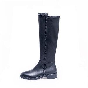Image 5 - MORAZORA 2020 new arrival oryginalne skórzane buty do kolan damskie okrągłe toe jesienne buty zimowe jednolite kolory modne buty