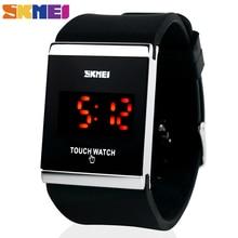 Skmei Moda Colorida LED Táctil Reloj Digital, Reloj de Los Hombres, Reloj de Las Mujeres, Casual Deporte, Forma de Rectángulo Dial Banda de goma Reloj