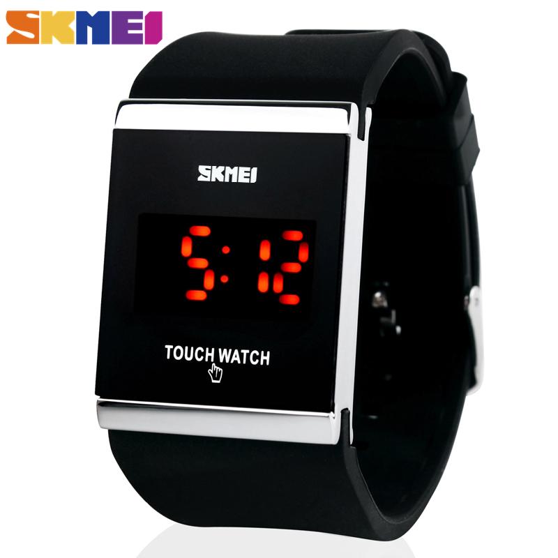Prix pour Skmei Trendy Colorful LED tactile numérique montre, Hommes montre, Femmes montre, Casual sport, Forme Rectangle Dial Rubber Band montre