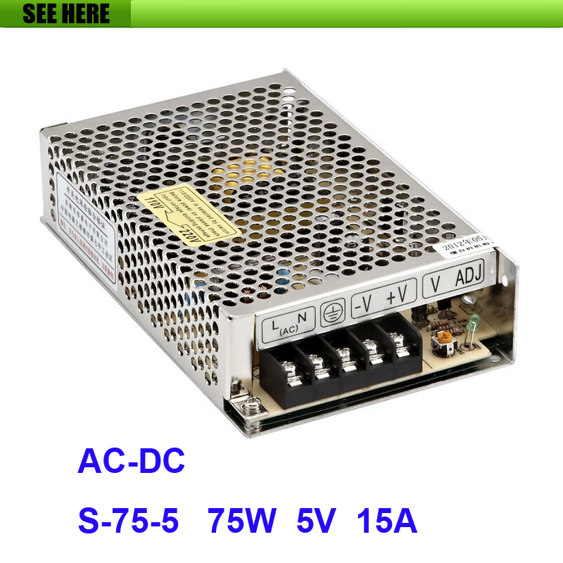 Free Shipping Universal 5V 15A 75W Switch Power Supply Driver Switching For LED Strip Light Display 110V 220V S-75-5 12v 3 2a 40w switch power supply driver for led light strip 110v 220v