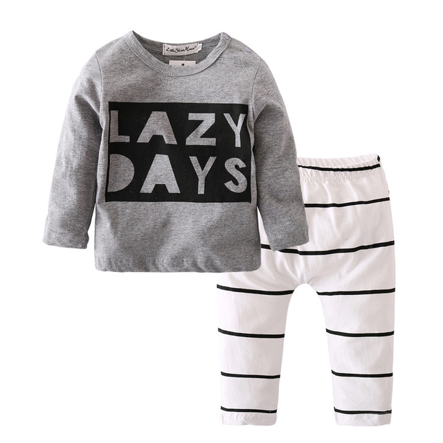 2018 Autumn Baby Boy Clothes Baby Clothing Set Fashion Cotton Long-sleeved Letter T-shirt+Pants Newborn Baby Girl Clothing Set 4