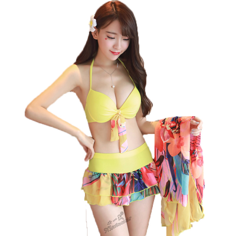 High Quality 3 Pieces Retro Sexy Women Bikini Swimwear Striped Push Up Swimsuit with Summer Beach Long Dress Girl Bathing Suit