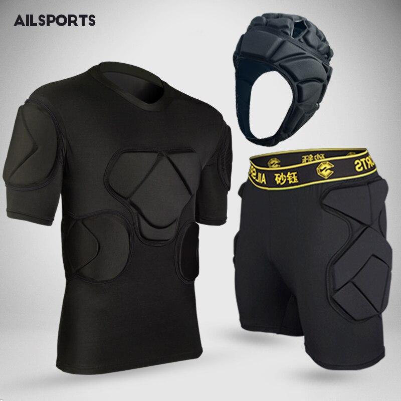 2018 new american football sports safety thicken gear soccer goalkeeper jerseys pants knee pads elbow helmet kneepads protector