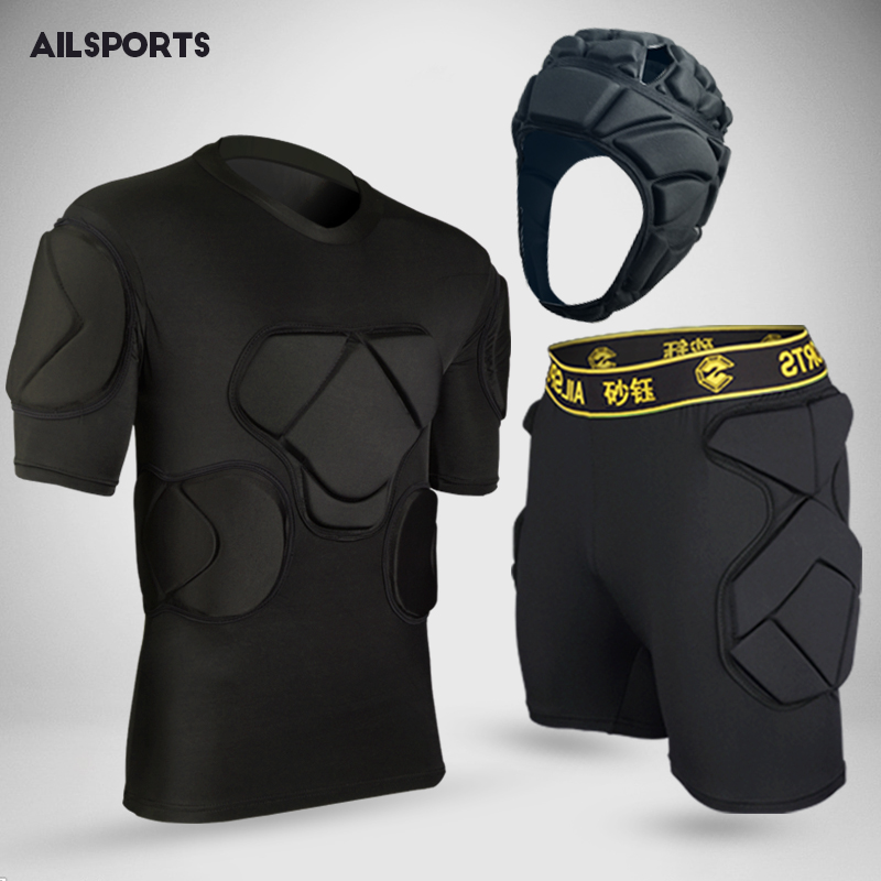 2018 new american football sports safety thicken gear soccer goalkeeper jerseys pants knee pads elbow helmet kneepads protector