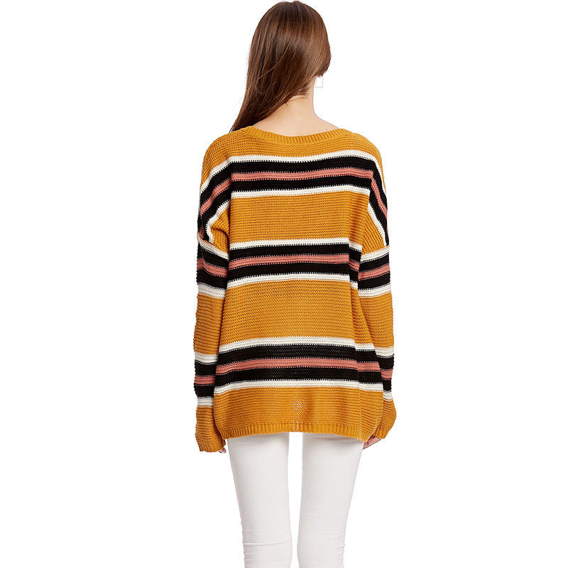 GOPLUS New Fashion Thin Striped Knitted Women Pullovers Batwing Sleeve Befree Loose Sweater Ladies 2019 Casual Blouse Female Top in Pullovers from Women 39 s Clothing