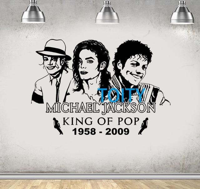 Michael Jackson Wall Decal King Of Pop Vinyl Sticker Music Poster Room Mural H58cm X W85cm