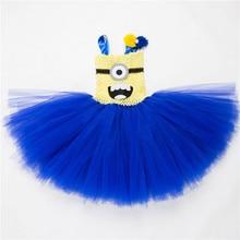 Children clothing Dresses for girls Blue Small yellow man Cosplay costume Girl dress Cartoon Gauze Tutu