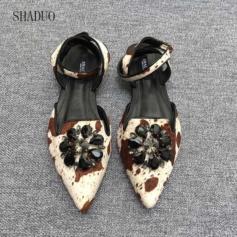 2018 SHADUO Summer women Horse hair stitching leather buckle crossover head with gemstone inlaid flat sandal