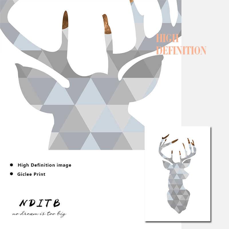 NDITB голова оленя Геометрическая картина на стену абстракция Искусство Постеры-холсты и принты скандинавском стиле украшение картина Современный домашний декор