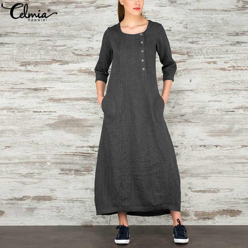 Celmia 2020 Lente Herfst Vrouwen Vintage Gewaad Maxi Jurk O Hals Drie Kwart Lange Jurk Casual Losse Elegante Vestidos Plus size