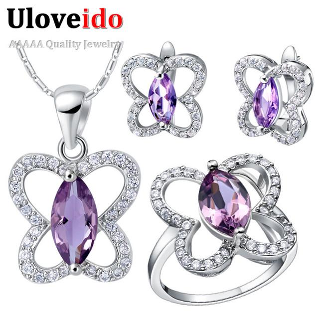 Joyería de la boda fija para la novia uloveido plateado púrpura cristalino de la joyería de la mariposa de la joyería barata establece al por mayor t288