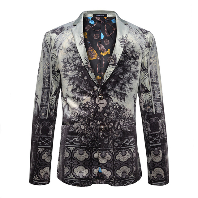 YUSHU New Arrival Peacock Print Blazer Fashion Brand Slim Fit Cotton Masculino Blazers Suit Jacket Coat Stage Clothes