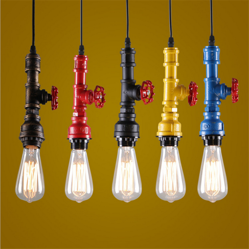 DIY loft retro industrial Wind Pendant Light E27 Steampunk water Pipe colorful pendant lamp for bar Restaurant dining room glossy copper vintage industrial loft pendant light fixture retro e27 holder fabric wire pendant light for dining room diy lamp