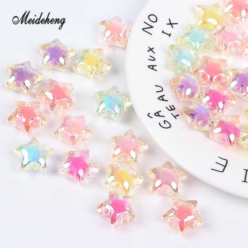 Acrylic Lovely Star Rainbow Beads AB Spring Color Beads with Beads  For Jewelry Making Needlework DIY Necklace Craft 16pcs/bag