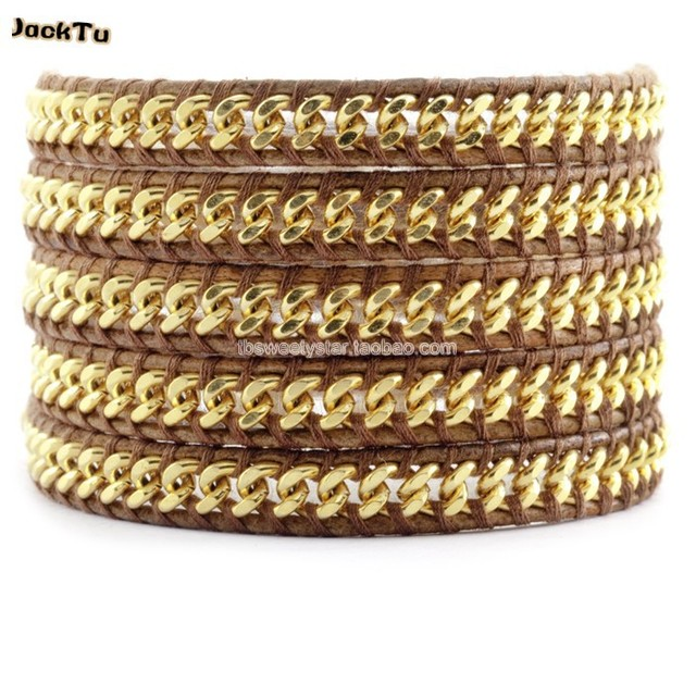 2017 gold chain natural brown leather 5 wrap bracelet