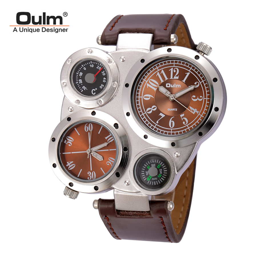 Oulm Man Watches Antique Male Quartz-Watch Top Brand Luxury Sport Wristwatch Men Casual Leather Strap relojes hombre natural bamboo watch men casual watches male analog quartz soft genuine leather strap antique wood wristwatch gift reloje hombre