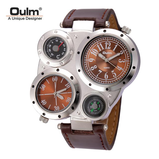Oulm homem relógios masculinos antigos de quartzo-relógio top de luxo da marca homens relógio de pulso esporte casual leather strap relojes hombre