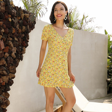 new yellow ruffles dress women short sleeve full of floral pattern printing girl mini dresses button party lady 50003