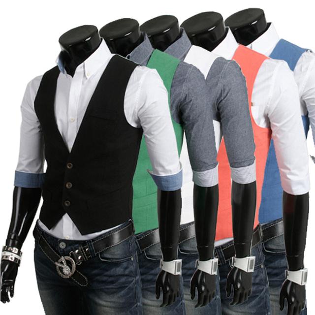 Venta al por mayor AliExpress hombres de la moda coreana de la 2013 mens sólido colorfull casual chalecos chaqueta delgada body building chaleco