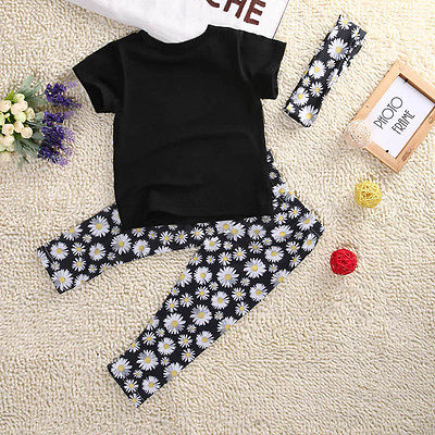 Cute Baby Girls Clothes Toddle Kids Short Sleeve T-Shirt Floral Pant and Headband 3PCS Set Children Clothing Set