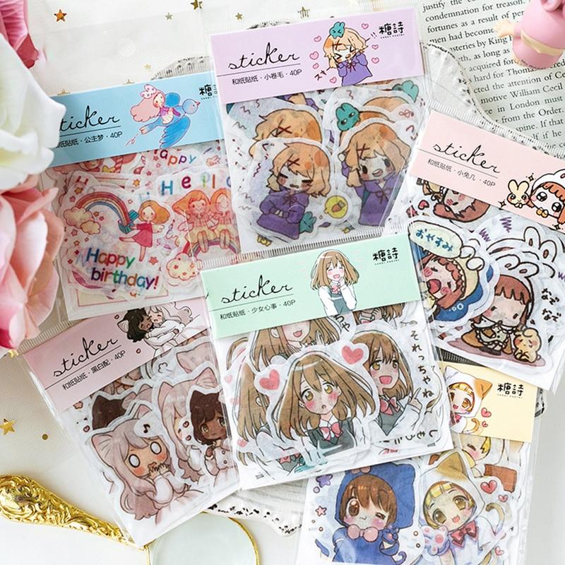 40pcs/Pack Japanese Kawaii Cartoon Girl Sticker Pack Scrapbooking Creative Diy Journal Decorative Adhesive Label Cute Stationery