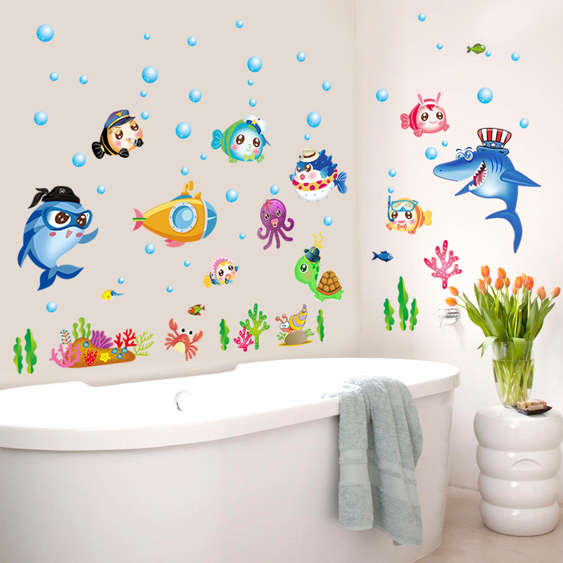 Zs sticker 42 x 140 cm cartoon fish wall stickers bathroom for Bathroom fish decor