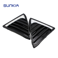 SUNKIA 2Pcs/Set High Bright LED Auto Car DRL Daytime Running Lights Gloss Style Fog Lamp Case For 2012 Ford Focus 3