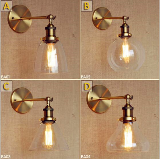 Glass Retro Vintage Wall Lamp Home indoor Lighting Antique Edison Style Loft Industrial Wall Light Sconce Applique LED glass wooden arm retro vintage wall lamp led edison style loft industrial wall light sconce home lighting appliques pared