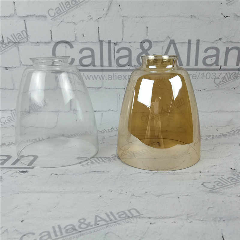 Amber/clear glass shade D140mmX160mm DIY lighting lampshade cone glass pendant light shade Design your own light glass shade