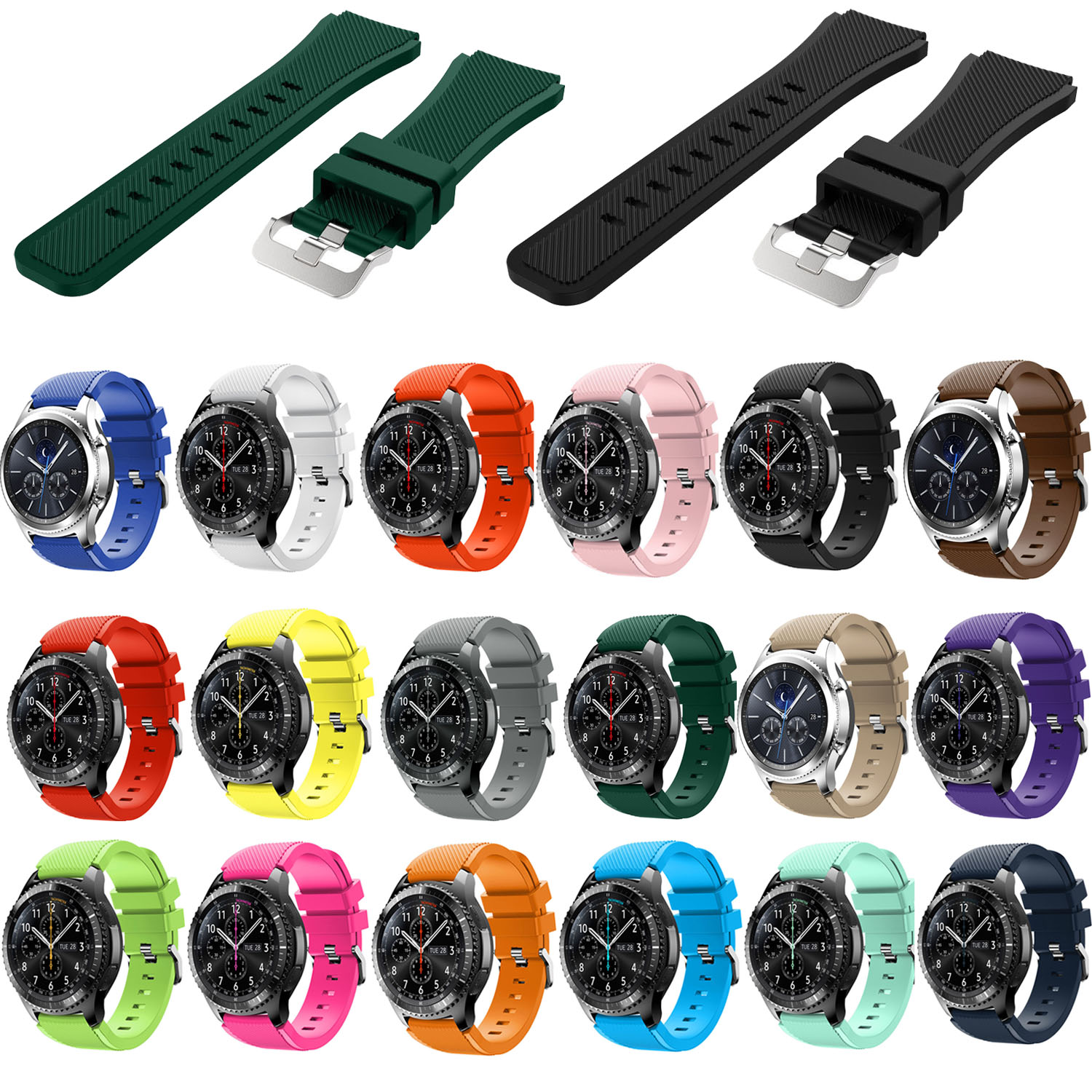 18 Colors Rubber Wrist Strap for Samsung Gear S3 Frontier Silicone Watch Bands 22 mm Gear S3 Classic Replacement Bracelet Band silicone sport watchband for gear s3 classic frontier 22mm strap for samsung galaxy watch 46mm band replacement strap bracelet