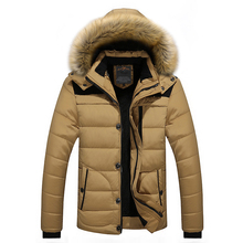 FIT -25 C Brand Winter Jacket Men 2018 New Parka Coat Men Down Keep Warm Fashion M-4XL 5XL 6XL cheap Regular Cotton Polyester Hooded Fleece Broadcloth Hat Detachable Polyester Cotton LD6692 None Zipper Solid Lance Donovan