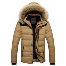 FIT-25 C kurtka zimowa marki mężczyźni 2018 nowe Parka płaszcz mężczyźni w dół zachować ciepły moda M-4XL 5XL 6XL tanie tanio Mężczyzn Regularne Bawełna Poliester Hooded Polaru Sukno Kapelusz odłączany Poliester bawełna LD6692 Brak Zamek Stałe