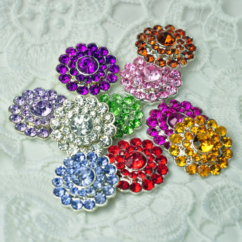 120pcs lot 0 8 10colors Bling Metal Rhinestone Button For Craft Flatback Crystal Decorative Buttons For