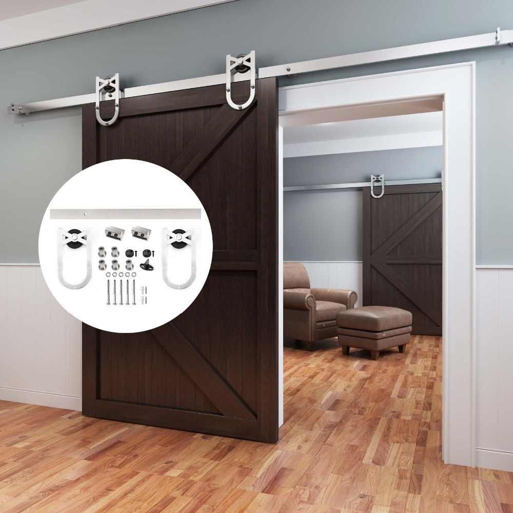 Carbon Steel Wardrobe Track Door Runner Sliding Door Rail Hanger Roller Sliding Door Kit Sliding Door Closet System for Single Wooden Door Sliding Barn Door Hardware 183cm//6FT Sliding Door Track