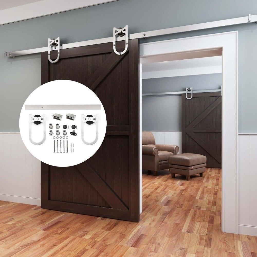 Voie simple de matériel de portes coulissantes en bois de grange de style de fer à cheval d'acier inoxydable de 4.9FT/6FT/6.6FT