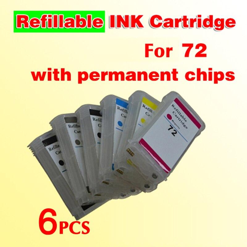 72 cartuccia di inchiostro riutilizzabile (con chip permanenti) compatibile per 72 Designjet T610 T620 T770 T790 T1100 T1100PS T1120 T1200